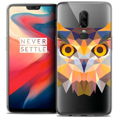 "Coque Crystal Gel OnePlus 6 (6.28"") Extra Fine Polygon Animals - Hibou"