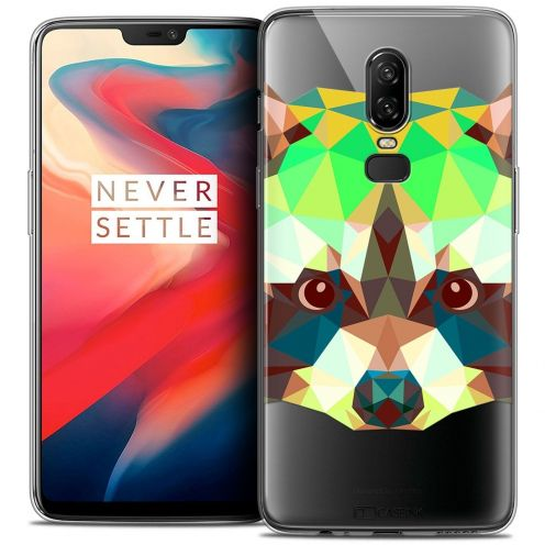 "Coque Crystal Gel OnePlus 6 (6.28"") Extra Fine Polygon Animals - Raton Laveur"