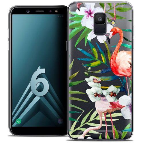 """Coque Crystal Gel Samsung Galaxy A6 2018 (5.45"""") Extra Fine Watercolor - Tropical Flamingo"""