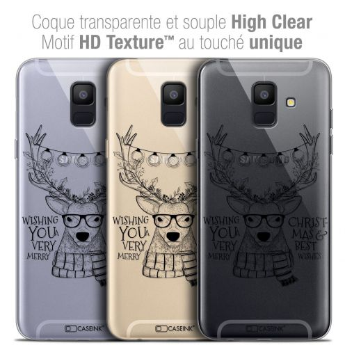 "Coque Crystal Gel Samsung Galaxy A6 2018 (5.45"") Extra Fine Noël 2017 - Cerf Hipster"