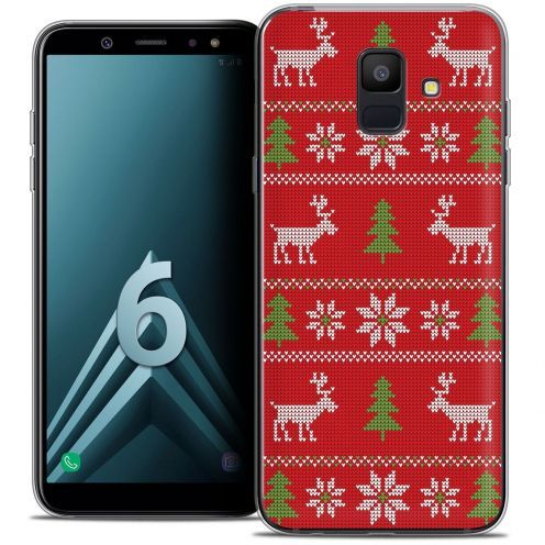 """Coque Crystal Gel Samsung Galaxy A6 2018 (5.45"""") Extra Fine Noël 2017 - Couture Rouge"""