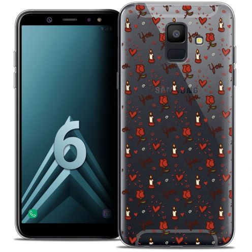 """Coque Crystal Gel Samsung Galaxy A6 2018 (5.45"""") Extra Fine Love - Bougies et Roses"""