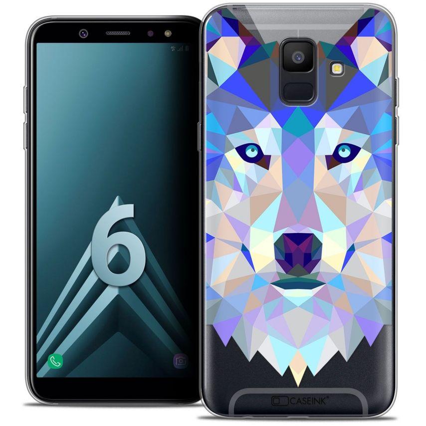 """Coque Crystal Gel Samsung Galaxy A6 2018 (5.45"""") Extra Fine Polygon Animals - Loup"""