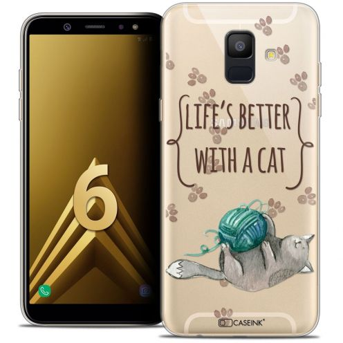 """Coque Crystal Gel Samsung Galaxy A6 2018 (5.45"""") Extra Fine Quote - Life's Better With a Cat"""