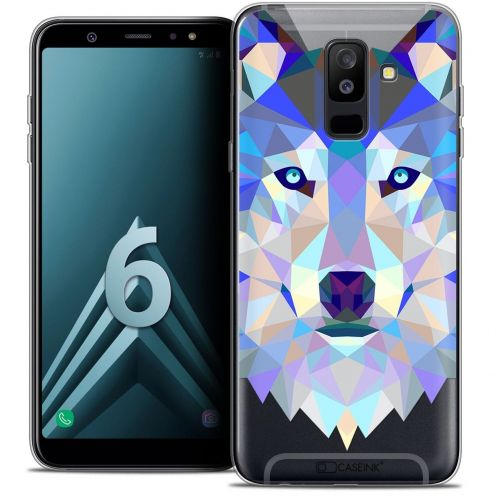 "Coque Crystal Gel Samsung Galaxy A6 PLUS 2018 (6"") Extra Fine Polygon Animals - Loup"