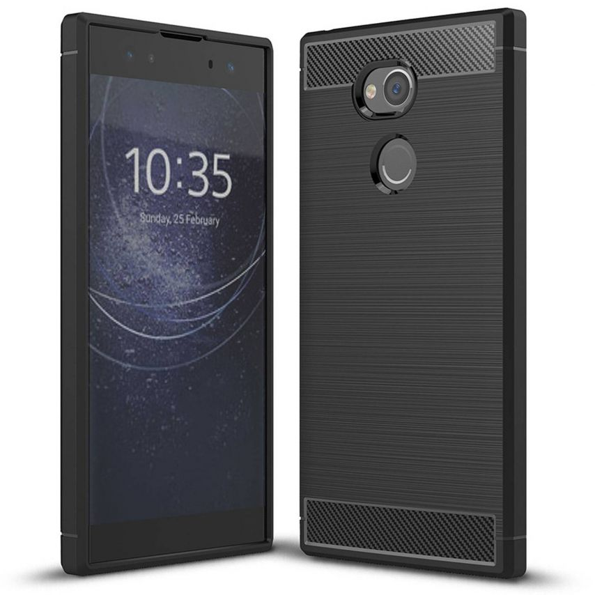 "Coque Sony Xperia XA2 ULTRA (6"") Hybrid Series Carbon Brush Noir"