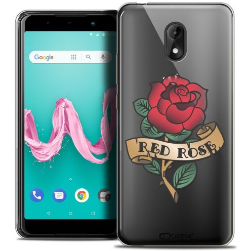 """Coque Crystal Gel Wiko Lenny 5 (5.7"""") Extra Fine Tatoo Lover - Red Rose"""