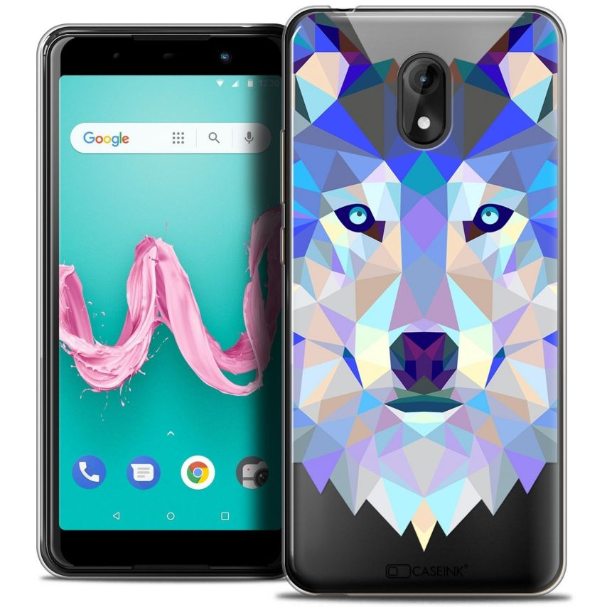 """Coque Crystal Gel Wiko Lenny 5 (5.7"""") Extra Fine Polygon Animals - Loup"""