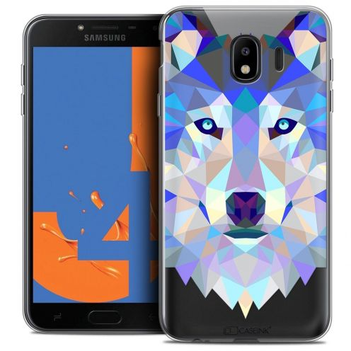 "Coque Crystal Gel Samsung Galaxy J4 2018 J400 (5.5"") Extra Fine Polygon Animals - Loup"