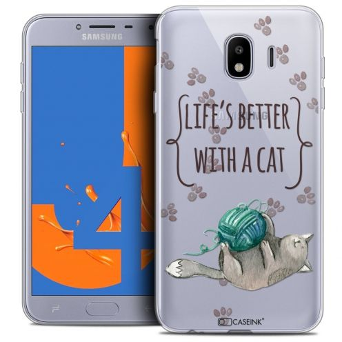 """Coque Crystal Gel Samsung Galaxy J4 2018 J400 (5.5"""") Extra Fine Quote - Life's Better With a Cat"""