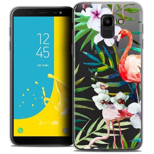 """Coque Crystal Gel Samsung Galaxy J6 2018 J600 (5.6"""") Extra Fine Watercolor - Tropical Flamingo"""