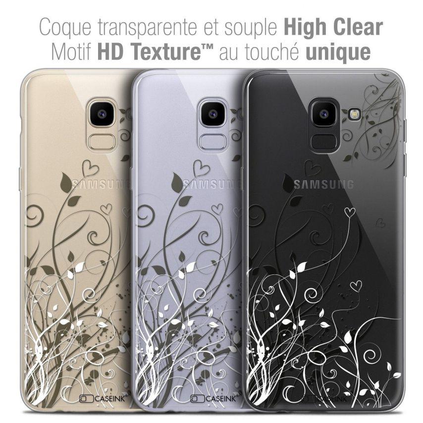 "Coque Crystal Gel Samsung Galaxy J6 2018 J600 (5.6"") Extra Fine Love - Hearts Flowers"