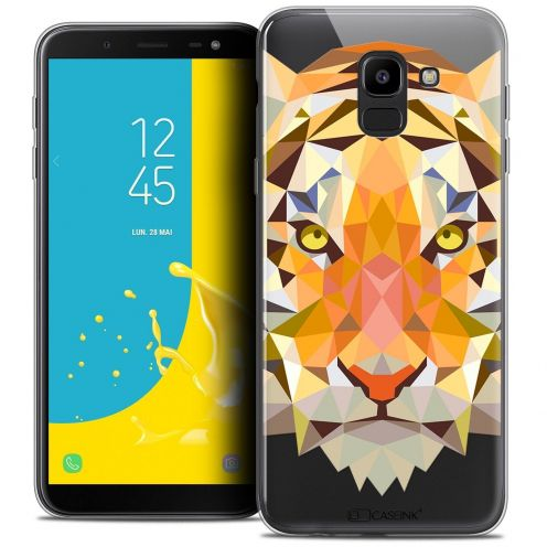 "Coque Crystal Gel Samsung Galaxy J6 2018 J600 (5.6"") Extra Fine Polygon Animals - Tigre"