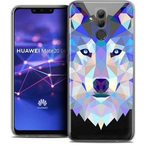 "Coque Crystal Gel Huawei Mate 20 Lite (6.3"") Extra Fine Polygon Animals - Loup"