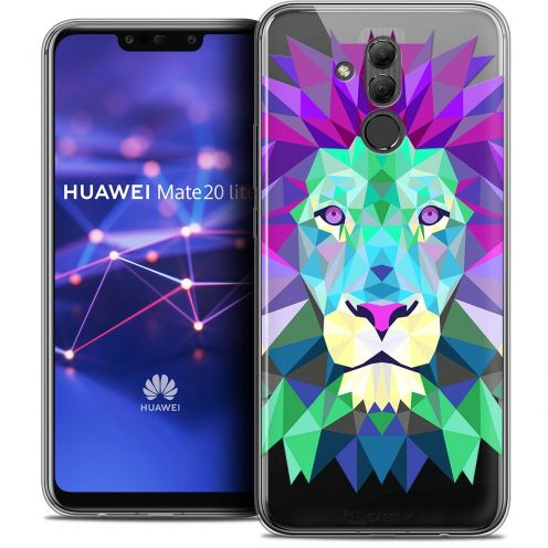 "Coque Crystal Gel Huawei Mate 20 Lite (6.3"") Extra Fine Polygon Animals - Lion"