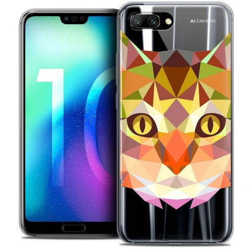 """Coque Crystal Gel Huawei Honor 10 (5.8"""") Extra Fine Polygon Animals - Chat"""