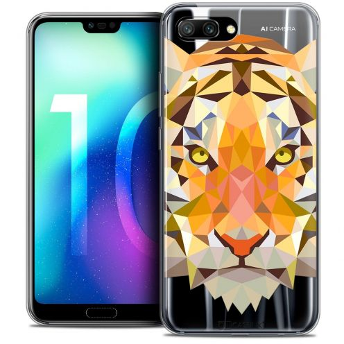 "Coque Crystal Gel Huawei Honor 10 (5.8"") Extra Fine Polygon Animals - Tigre"