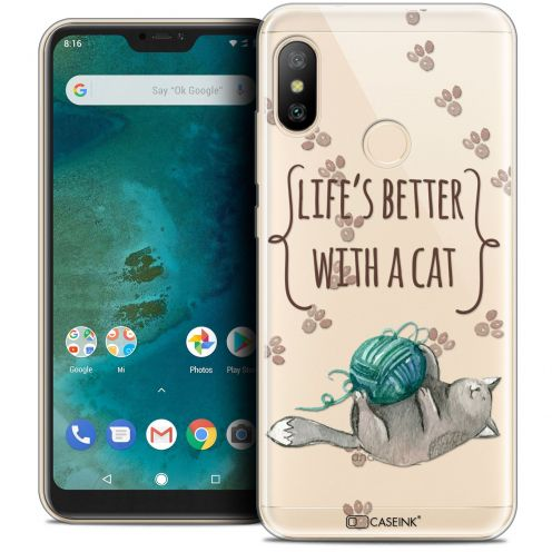 "Carcasa Crystal Gel Extra Fina Xiaomi Mi A2 LITE (5.8"") Quote Life's Better With a Cat"
