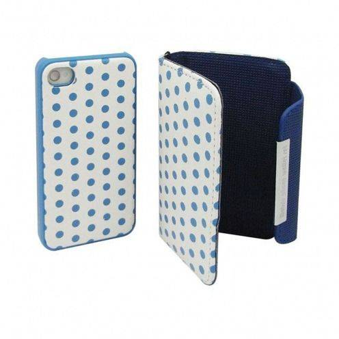 Caso iPhone 4 S / 4 cartera + casco azul 2 en 1 cuero puntos
