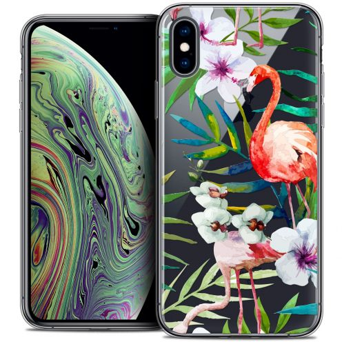 "Carcasa Crystal Gel Extra Fina Apple iPhone Xs Max (6.5"") Watercolor Tropical Flamingo"