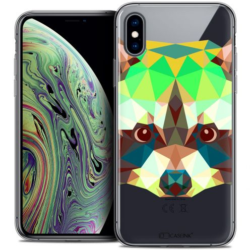 "Carcasa Crystal Gel Extra Fina Apple iPhone Xs Max (6.5"") Polygon Animals Raton Laveur"