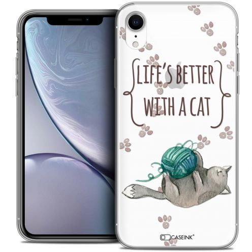 "Carcasa Crystal Gel Extra Fina Apple iPhone Xr (6.1"") Quote Life's Better With a Cat"