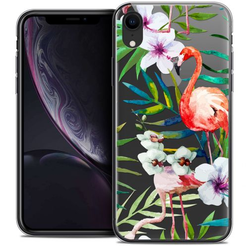 "Carcasa Crystal Gel Extra Fina Apple iPhone Xr (6.1"") Watercolor Tropical Flamingo"