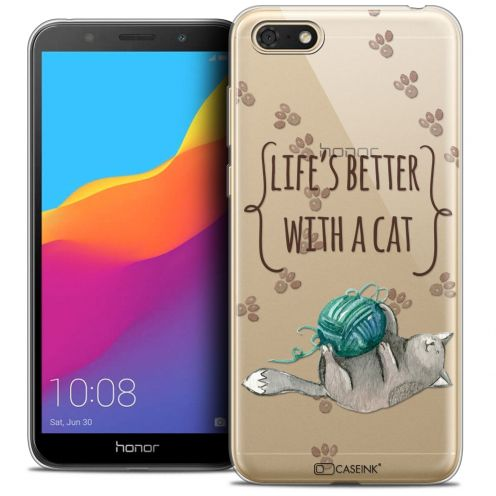 "Carcasa Crystal Gel Extra Fina Huawei Y5 2018 (5.4"") Quote Life's Better With a Cat"