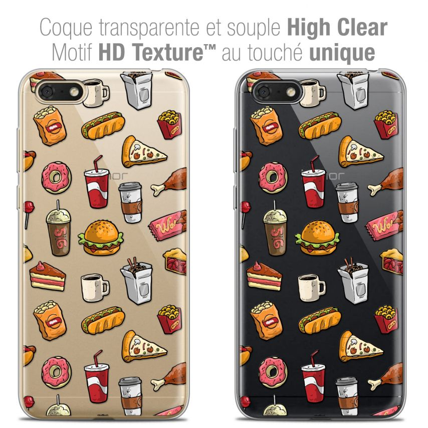 """Carcasa Crystal Gel Extra Fina Honor 7S (5.45"""") Foodie Fast Food"""