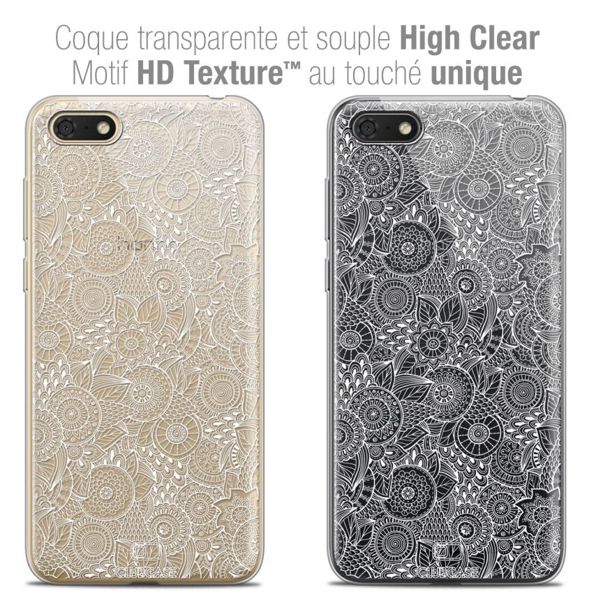 "Carcasa Crystal Gel Extra Fina Honor 7S (5.45"") Dentelle Florale Blanc"