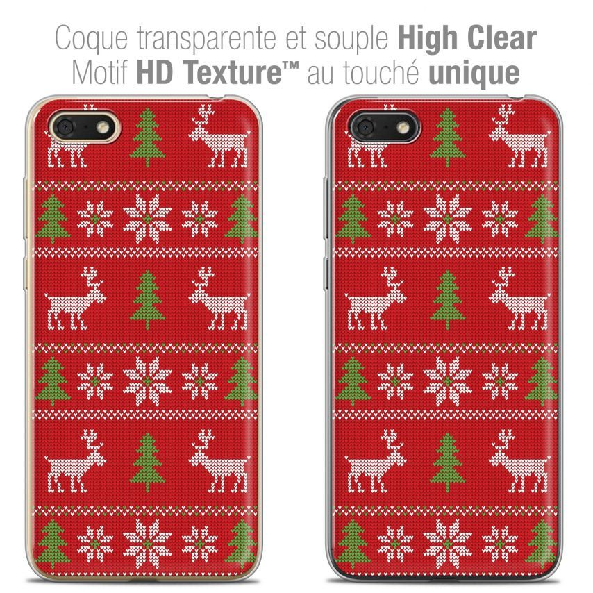 "Carcasa Crystal Gel Extra Fina Honor 7S (5.45"") Noël 2017 Couture Rouge"