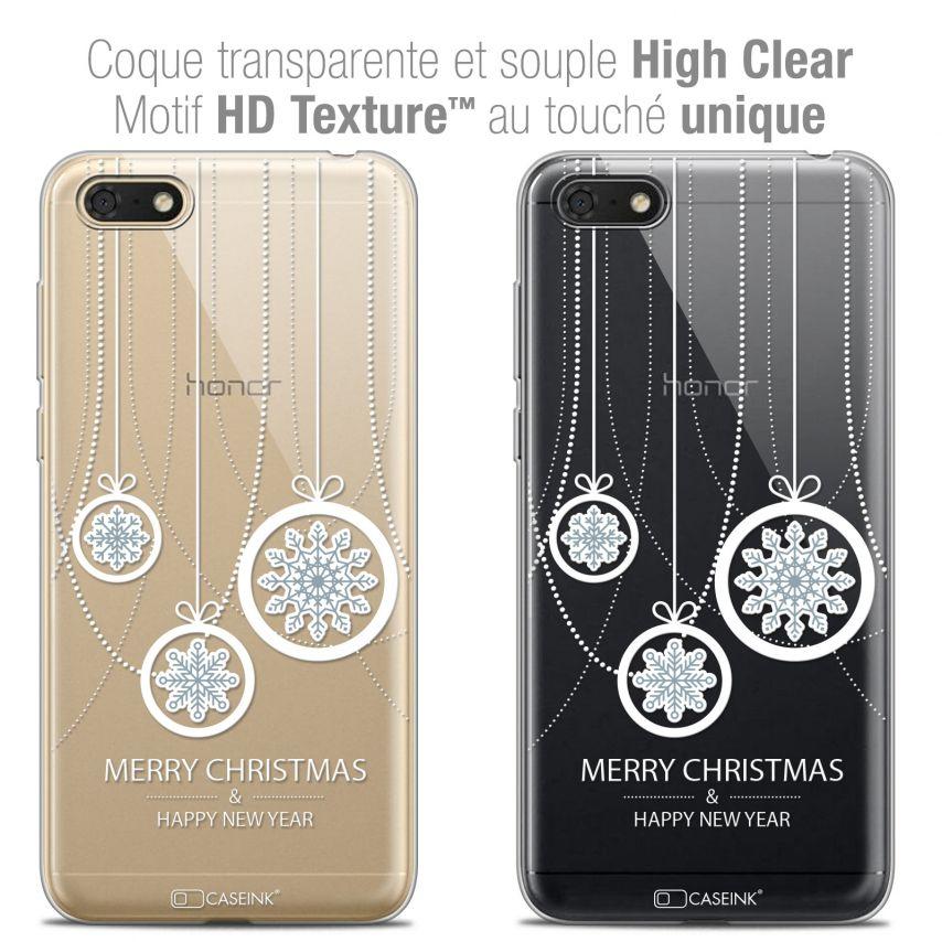 "Carcasa Crystal Gel Extra Fina Honor 7S (5.45"") Noël 2017 Christmas Balls"