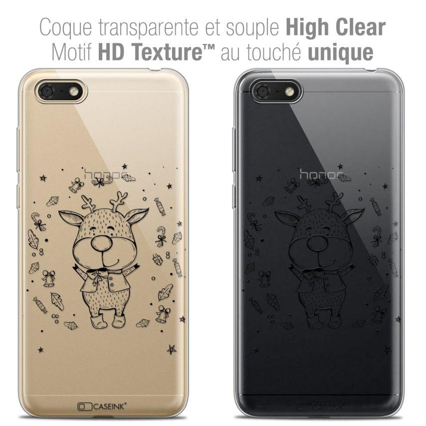 "Carcasa Crystal Gel Extra Fina Honor 7S (5.45"") Noël 2017 Sketchy Cerf"