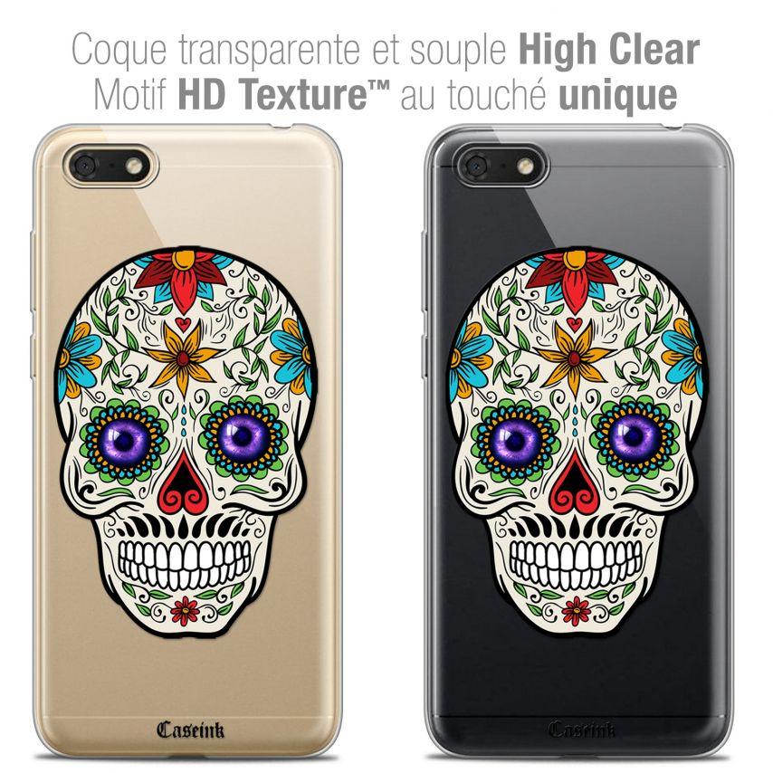 "Carcasa Crystal Gel Extra Fina Honor 7S (5.45"") Skull Maria's Flower"