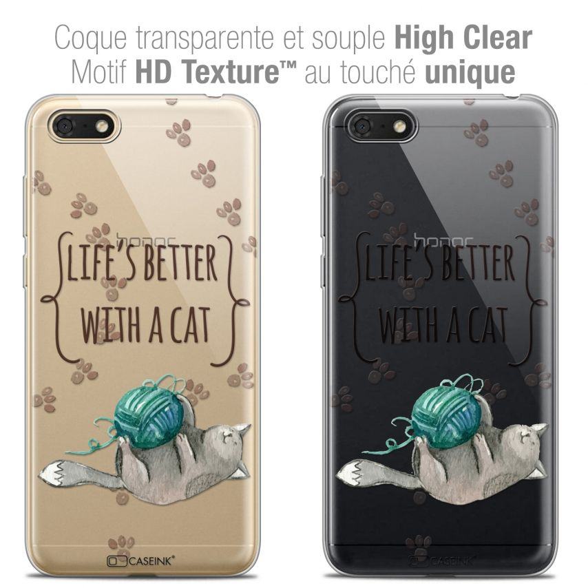 """Carcasa Crystal Gel Extra Fina Honor 7S (5.45"""") Quote Life's Better With a Cat"""