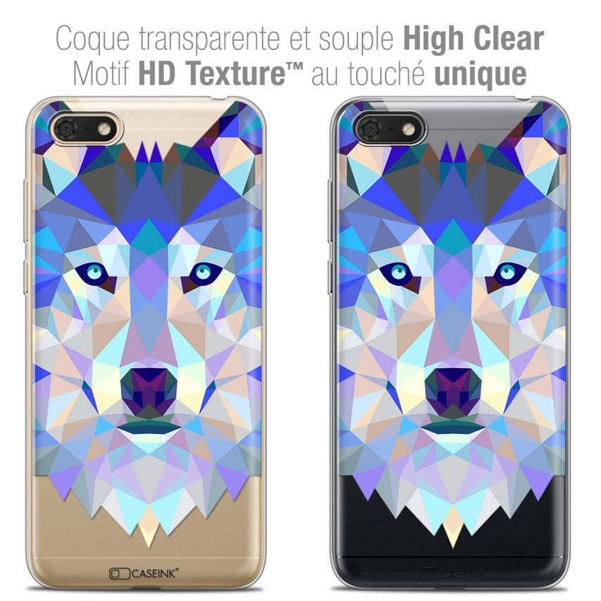 "Carcasa Crystal Gel Extra Fina Honor 7S (5.45"") Polygon Animals Lobo"