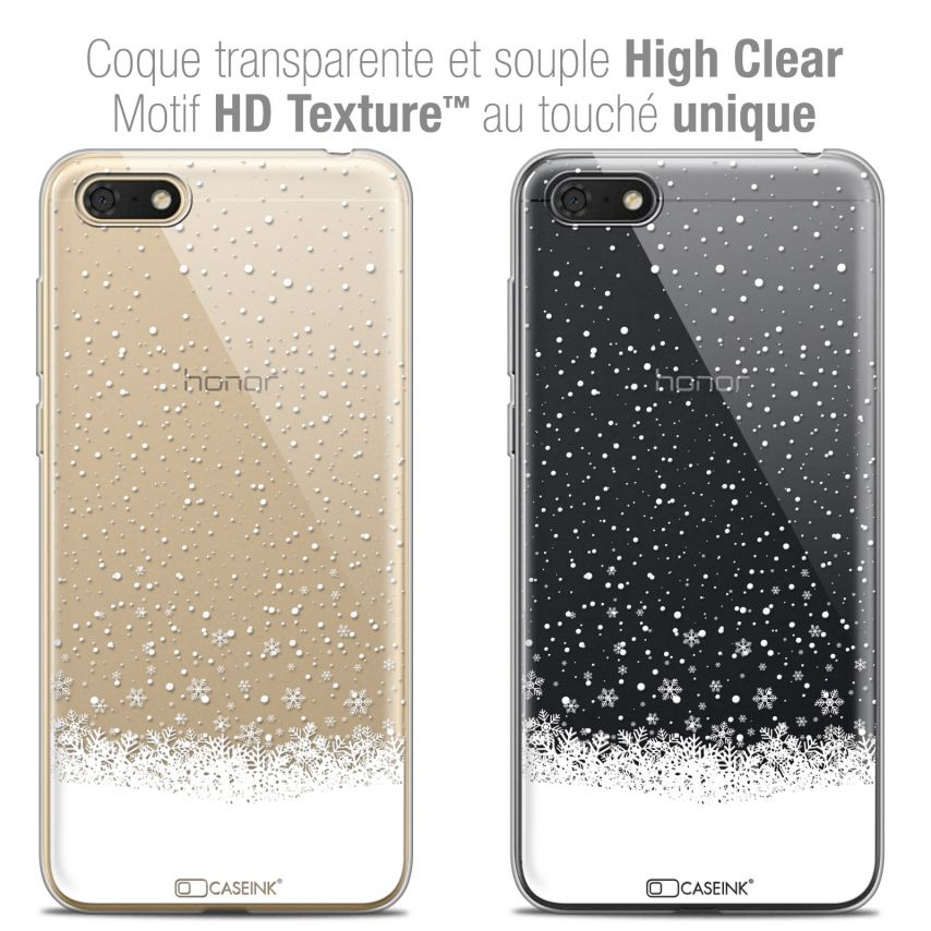 "Carcasa Crystal Gel Extra Fina Honor 7S (5.45"") Noël 2017 Flocons de Neige"