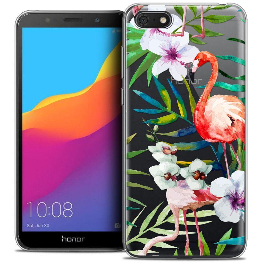 "Carcasa Crystal Gel Extra Fina Honor 7S (5.45"") Watercolor Tropical Flamingo"