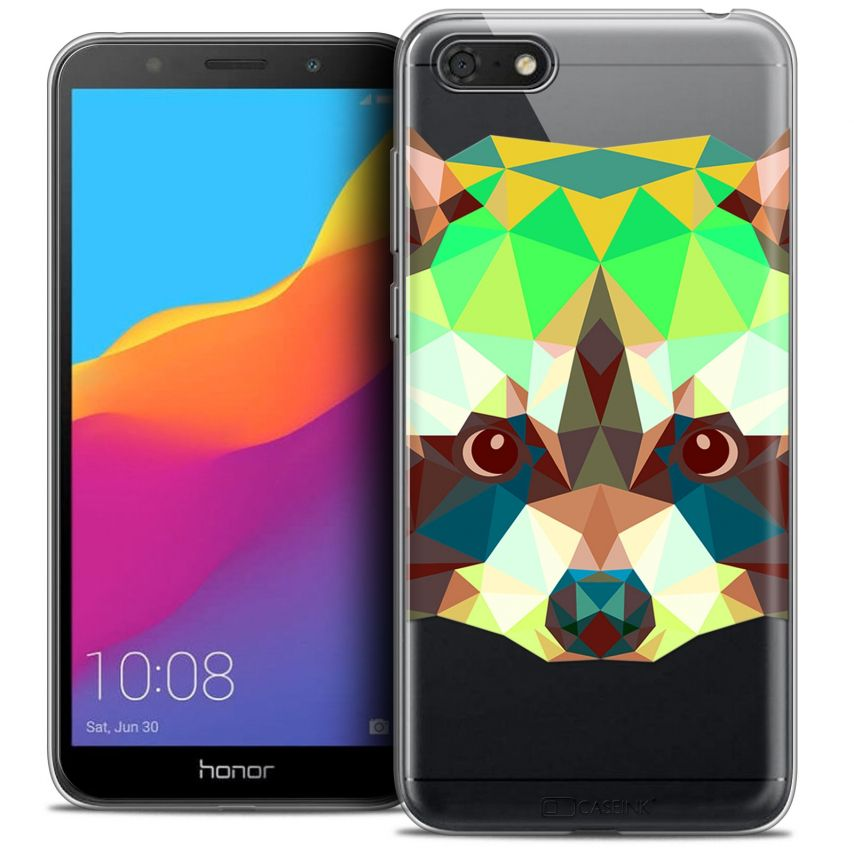 "Carcasa Crystal Gel Extra Fina Honor 7S (5.45"") Polygon Animals Raton Laveur"
