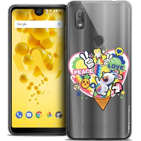"Carcasa Crystal Gel Wiko View 2 (6.0"") Lapins Crétins™ Peace And Love"