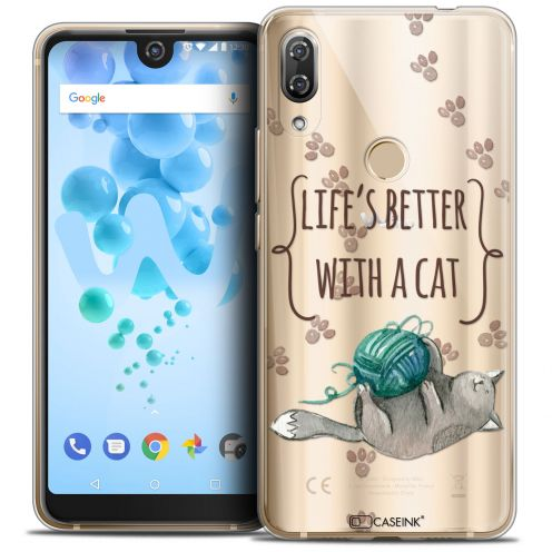 "Carcasa Crystal Gel Extra Fina Wiko View 2 PRO (6.0"") Quote Life's Better With a Cat"