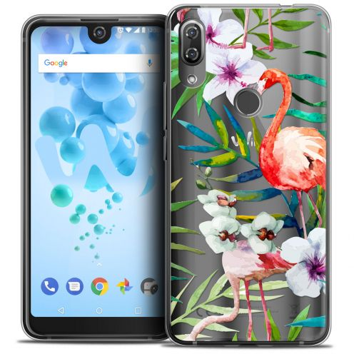 "Carcasa Crystal Gel Extra Fina Wiko View 2 PRO (6.0"") Watercolor Tropical Flamingo"