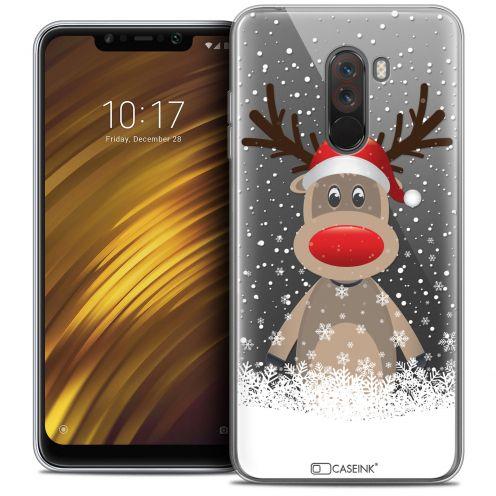 """Carcasa Crystal Gel Extra Fina Xiaomi Pocophone F1 (6.18"""") Noël 2017 Cerf au Bonnet"""