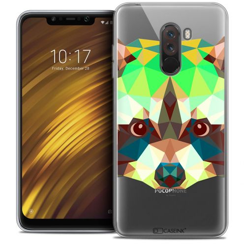 "Carcasa Crystal Gel Extra Fina Xiaomi Pocophone F1 (6.18"") Polygon Animals Raton Laveur"