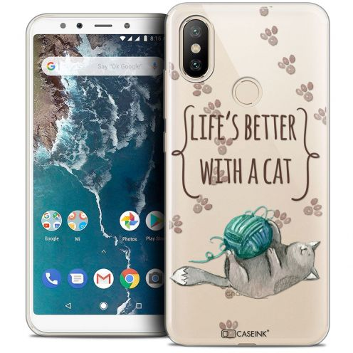 """Carcasa Crystal Gel Extra Fina Xiaomi Mi A2 (5.99"""") Quote Life's Better With a Cat"""