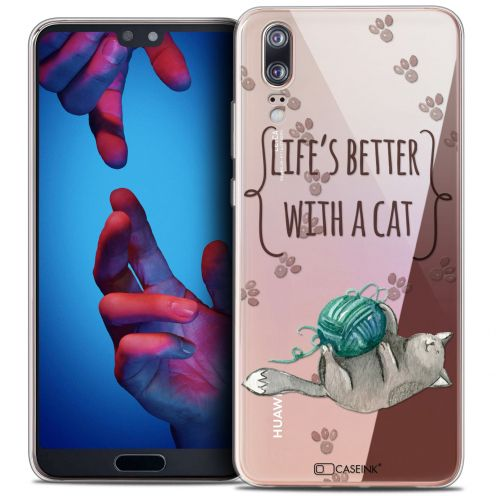 """Carcasa Crystal Gel Extra Fina Huawei P20 (5.8"""") Quote Life's Better With a Cat"""
