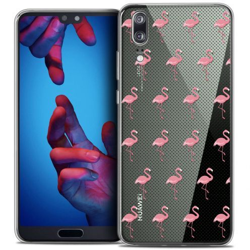 "Carcasa Crystal Gel Extra Fina Huawei P20 (5.8"") Pattern Les flamants Roses Dots"