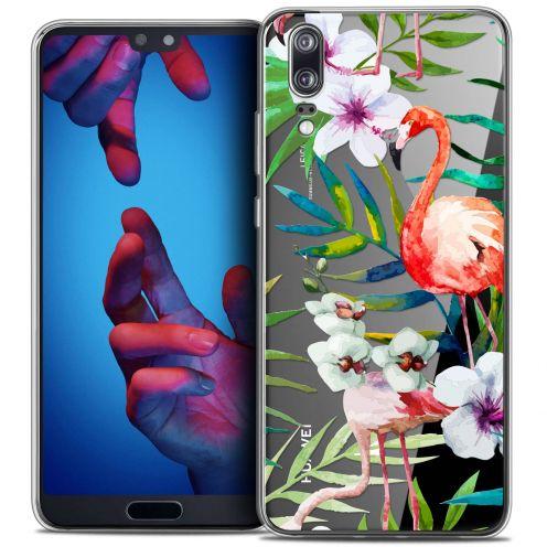 "Carcasa Crystal Gel Extra Fina Huawei P20 (5.8"") Watercolor Tropical Flamingo"