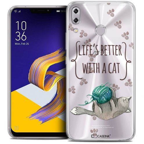 """Carcasa Crystal Gel Extra Fina Asus Zenfone 5z ZS620KL (6.2"""") Quote Life's Better With a Cat"""