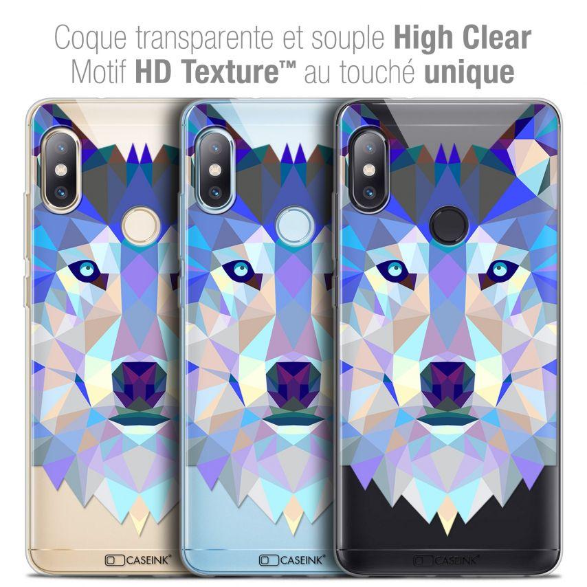 """Carcasa Crystal Gel Extra Fina Xiaomi Redmi Note 5 (5.99"""") Polygon Animals Lobo"""